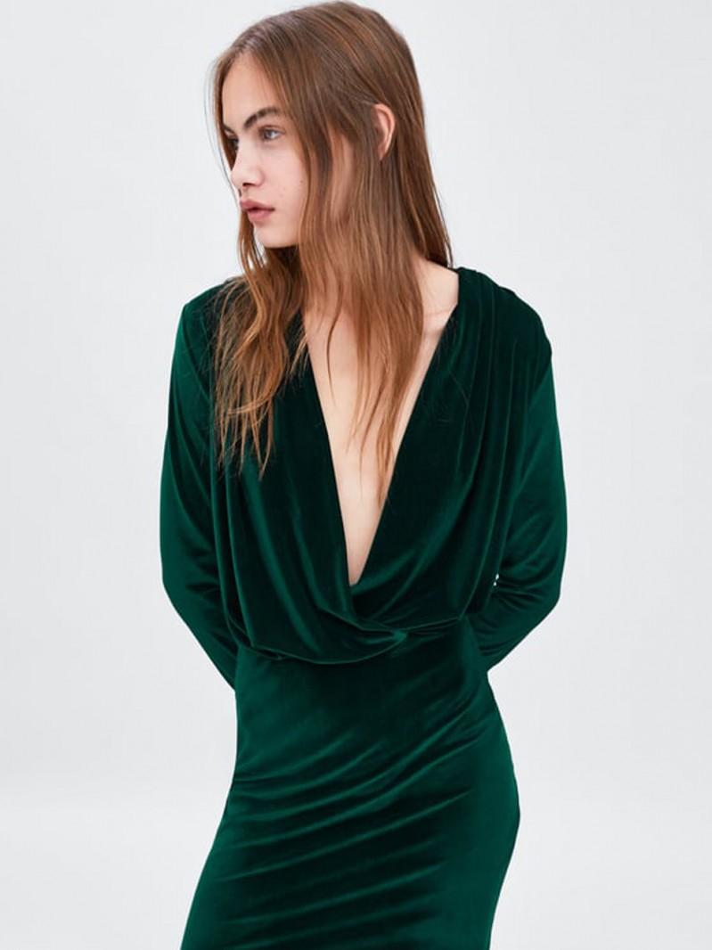 Vestido verde de zara 2019