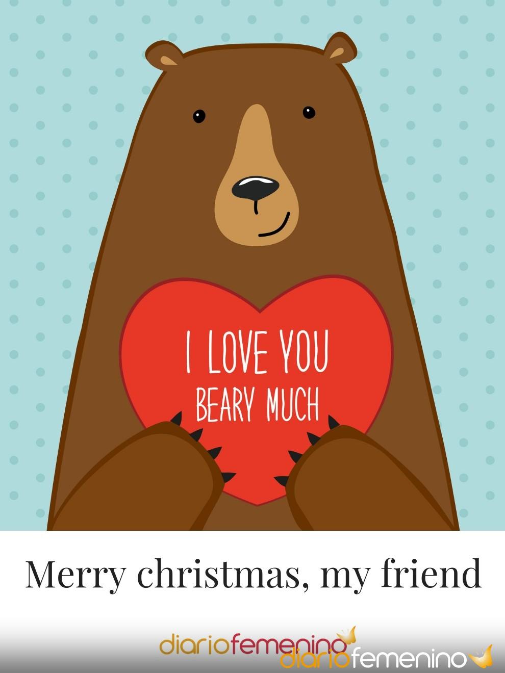 Tarjeta muy amorosa para tus amigos en Navidad
