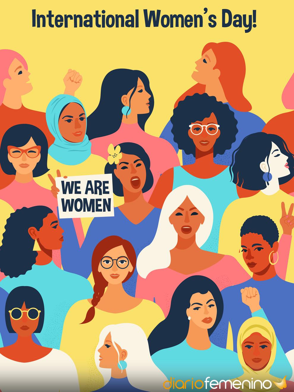 Perfecta tarjeta con ilustración para reivindicar igualdad en el Día de la Mujer
