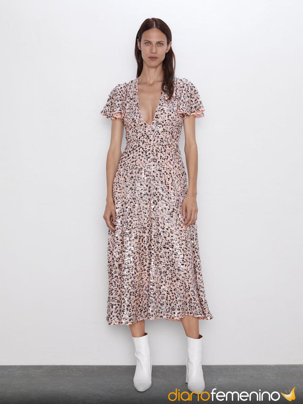 Romántico Vestido Rosa De Zara Para Nochevieja 2019 2020