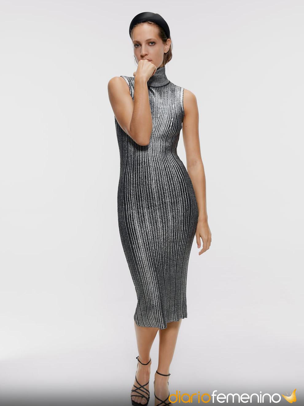 Vestido De Cuello Alto De Zara Para Nochevieja 2019 2020