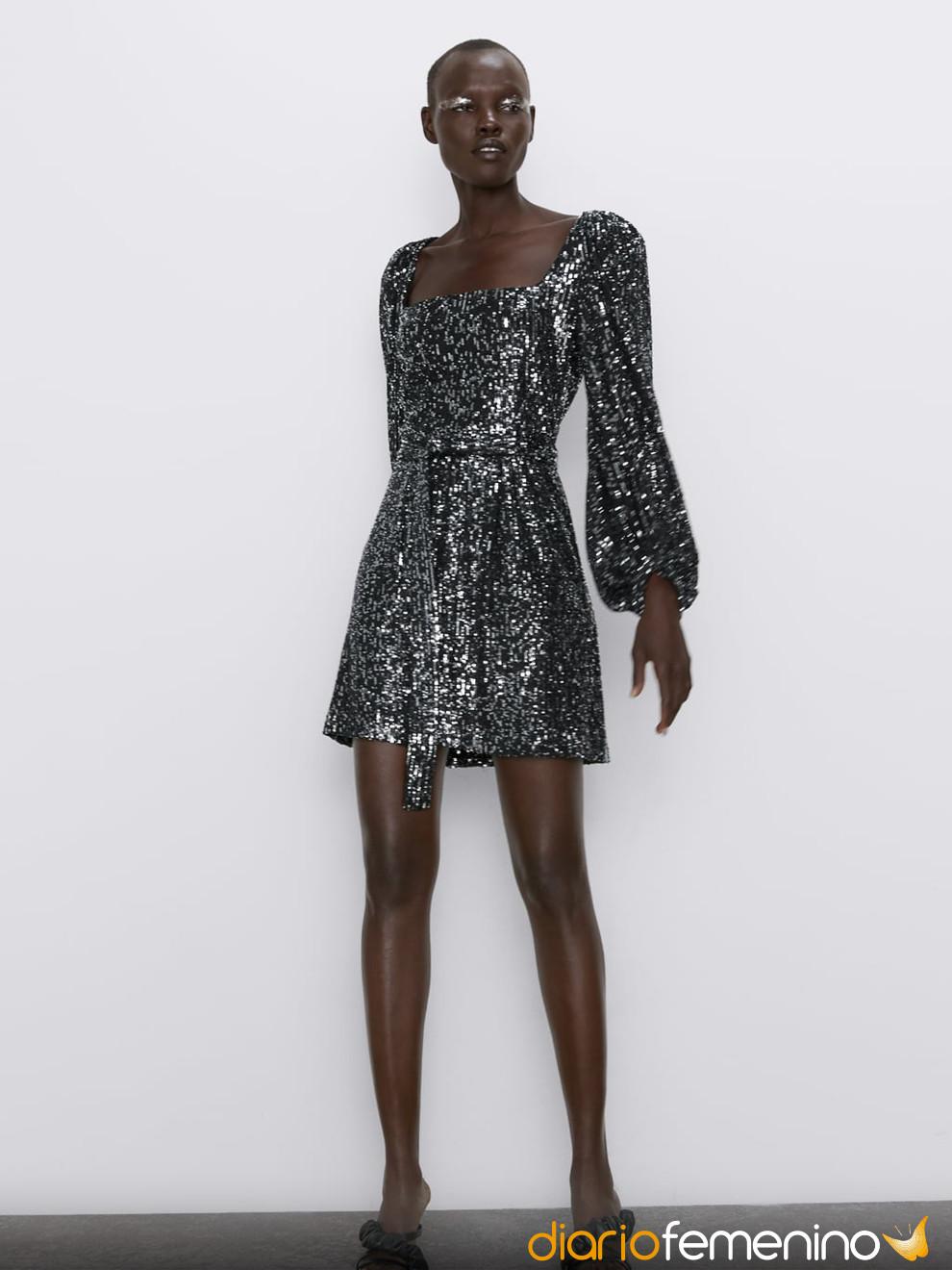 Vestido Glitter Estilo Lady De Zara Para Nochevieja 2019 2020