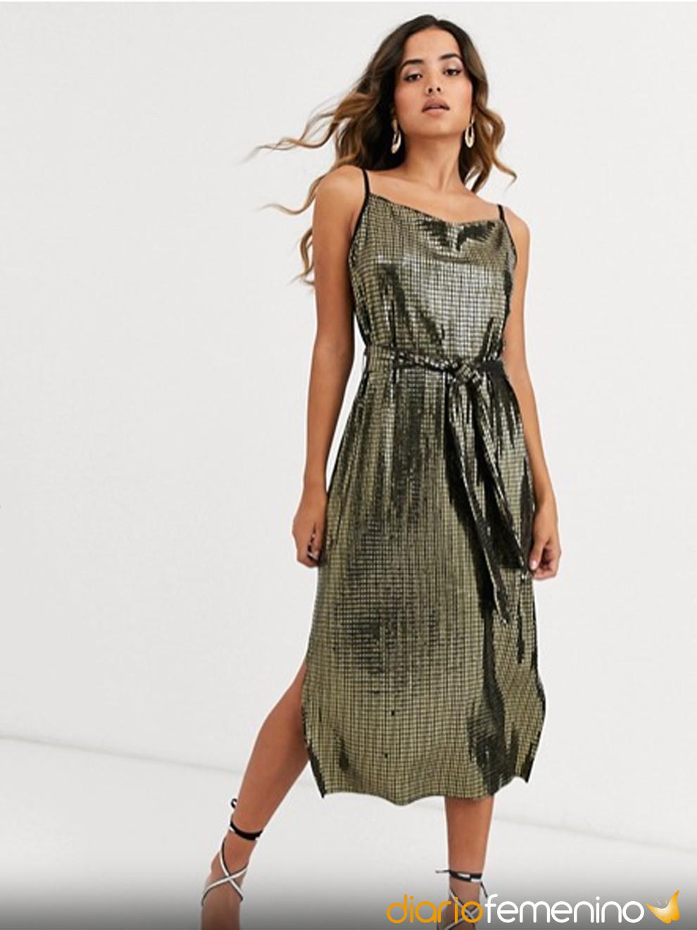 Precioso vestido verde metalizado de ASOS para Nochevieja 2019-2020