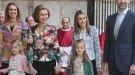 Letizia y el Príncipe Felipe, con sus hijas y la Reina Sofía, en la misa de Pascua