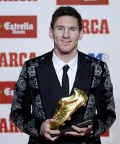 La chaqueta más fea de Leo Messi, ganador de la Bota de Oro