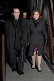 José María Aznar y Ana Botella, en el funeral de Irene Vázquez