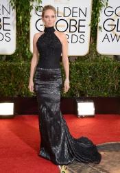 Uma Thurman, elegante y seria en los Globos de Oro 2014