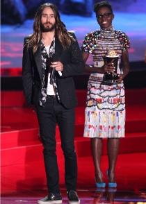 Lupita Nyong'o y Jared Leto, en los Premios MTV Movie Awards 2014