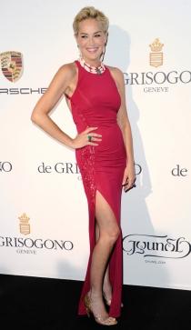 Sharon Stone presumió de piernas con este sensual look en Cannes 2014