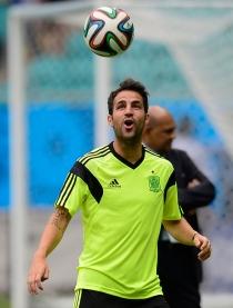 El careto de Cesc Fàbregas durante un entrenamiento