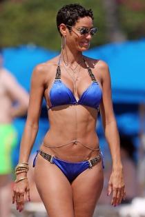 Nicole Murphy grabando la serie de televisión 'Hollywood Exes'