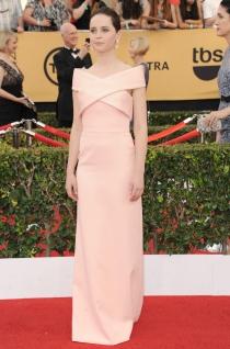 Felicity Jones apuesta por el rosa palo en los SAG Awards 2015