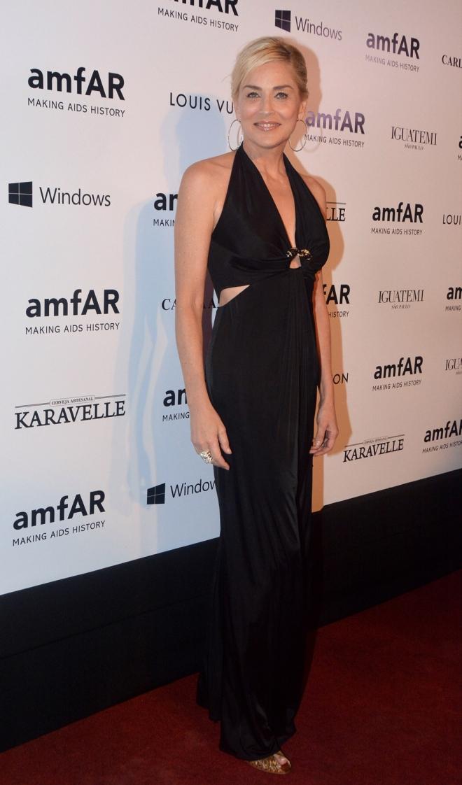 Gala amfAR: Sharon Stone, en Sao Paulo