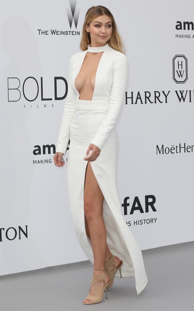 gigi hadid, espectacular con un vestido blanco en cannes 2015