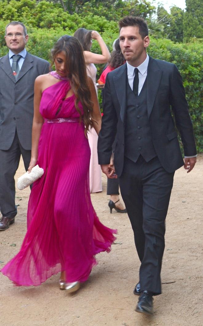 Messi, con Antonella en una de las bodas de los futbolistas