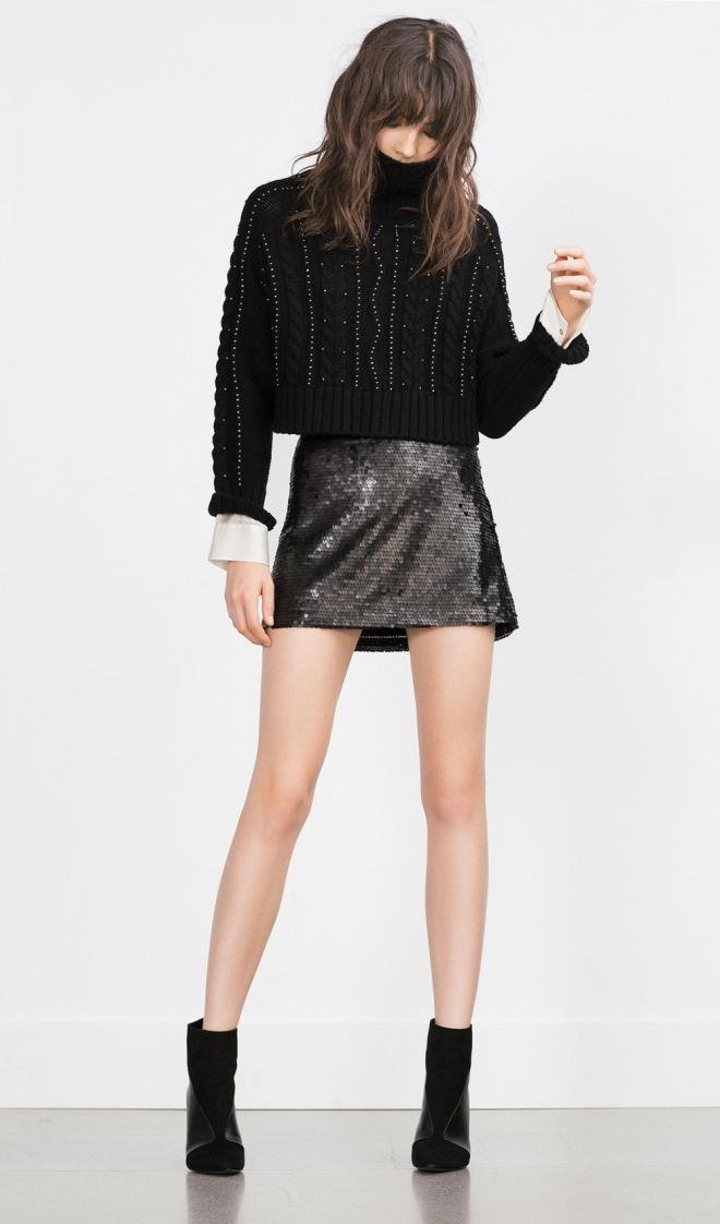 Faldas para 2016: una minifalda metalizada de Zara