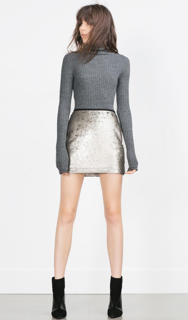 Faldas para 2016: una minifalda plateada de Zara