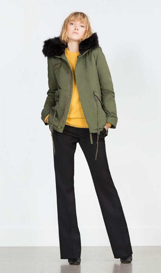 Zara De 2016 Abrigos Para Verde Parka Una n0pp6fq