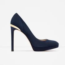 Zapatos para 2016: salones en azul y dorado de ZARA