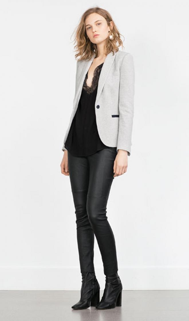 Zara 2016 Un Look Para Ir A La Oficina Con Blazer Y Pantal N De Cuero 10 Looks De Zara Para