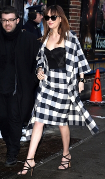 El total look de Dakota Johnson con falda de cuadros