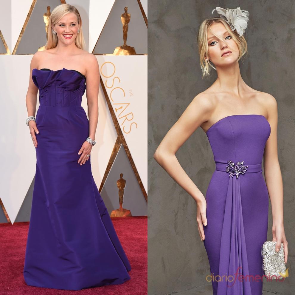 Vestidos para invitadas en morado: Pronovias y Reese Witherspoon