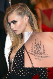 Tatuajes en el cuello: el tribal de Cara Delevingne