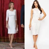 Vestidos de comunión para madres: un vestido blanco como Letizia, de ASOS