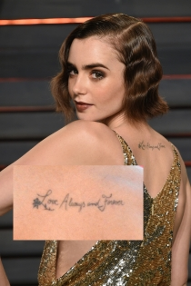 Tatuajes en la espalda: la frase de amor de Lily Collins