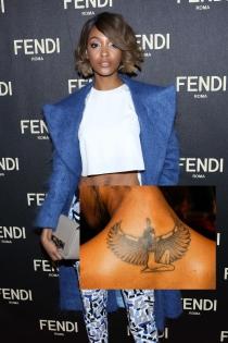Tatuajes en la espalda: la diosa egipcia de Jourdan Dunn