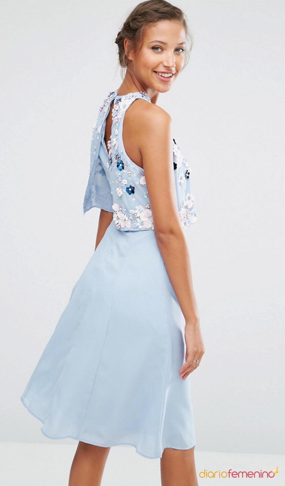 vestido azul celeste para una boda en septiembre