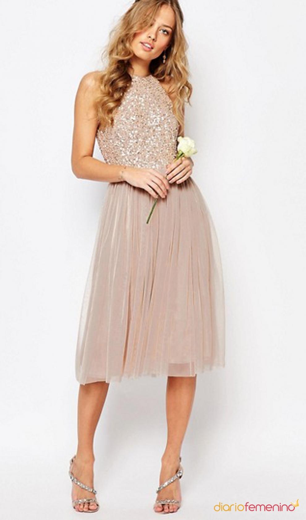 2015 Bridemaid Dress Tulle Dreamlike Elegant Nude color
