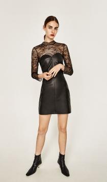 Un vestido de cuero con transparencias de ZARA, ideal para nochevieja