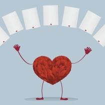 Corazones en las tarjetas de San Valentín
