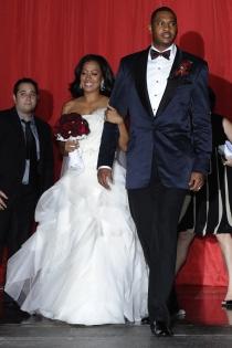 La La Anthony y Carmelo en el día de su boda