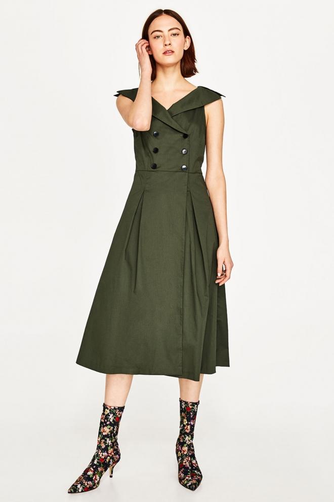 Un Vestido Verde Botella De Zara