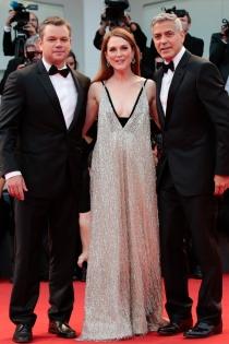 Matt Damon, George Clooney y Julianne Moore, en el Festival de Venecia