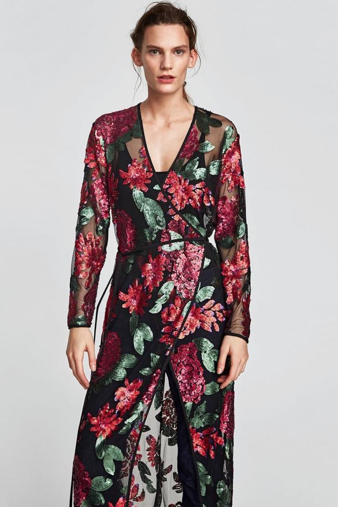Vestido largo zara flores