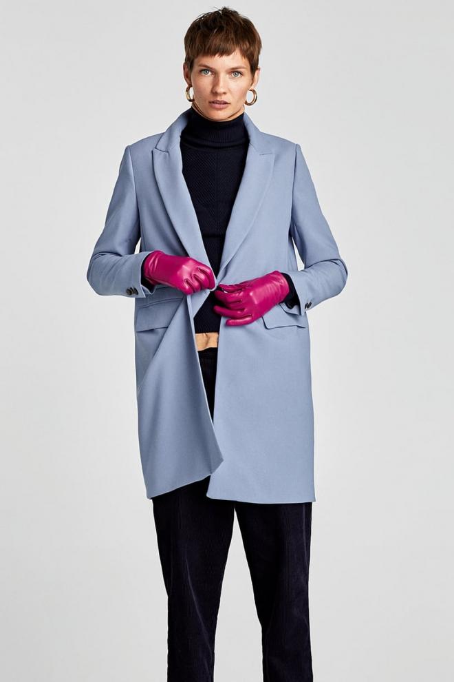 captura precio de descuento último vendedor caliente Abrigo de ZARA azul celeste, ¡viva el originalidad!