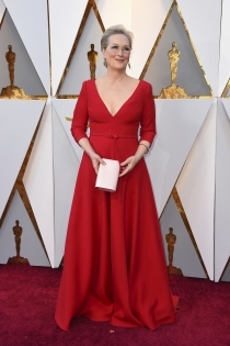 Meryl Streep, de rojo en los Oscars 2018