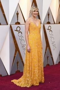 El vestido brillante de Greta Gerwig para los Oscars 2018