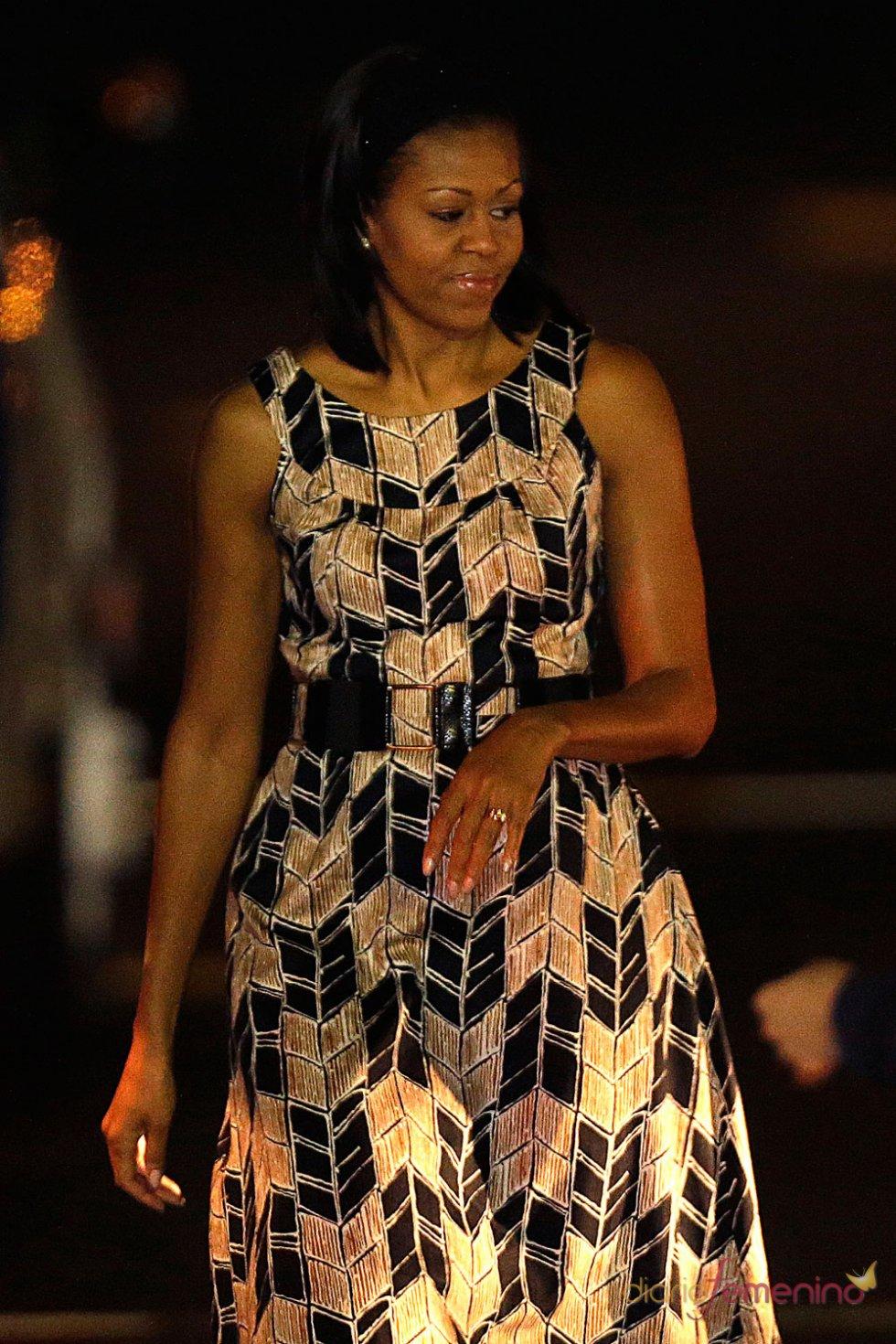 Michelle Obama con un vestido estampado