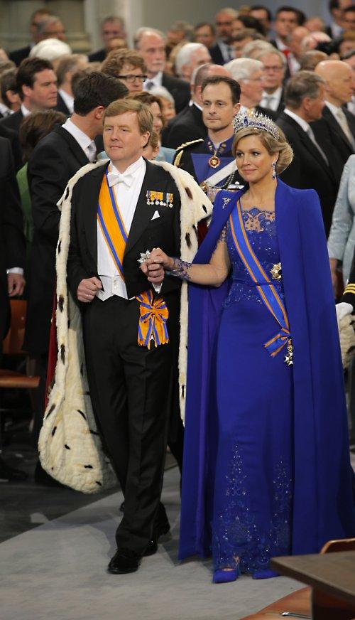 Guillermo de Holanda y Máxima Zorreguieta a su llegada a la ceremonia de coronación