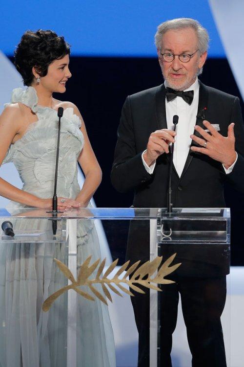 Audrey Tautou y Steven Spielberg, en el Festival de Cannes 2013