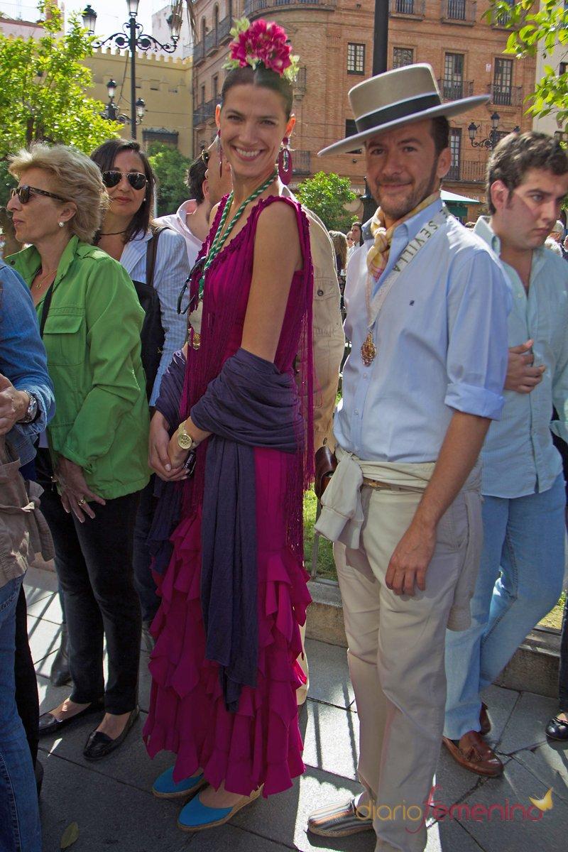 La modelo Laura Sánchez en la Romería del Rocío 2013