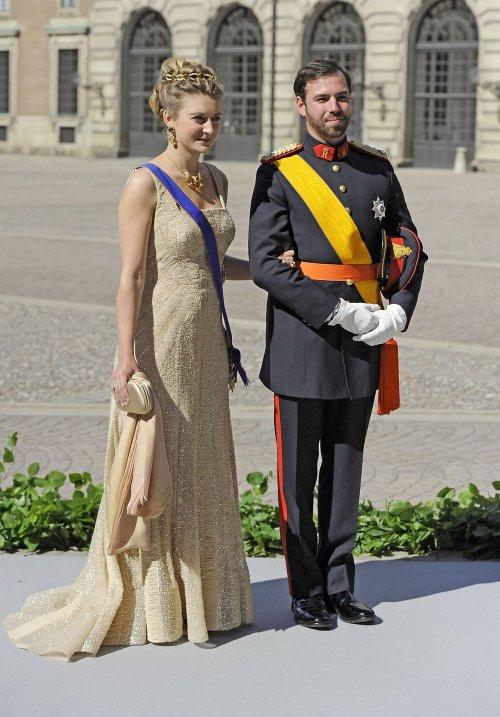 La gran Duquesa Stephanie de Luxemburgo y su marido Guillermo en la Boda Real de Suecia