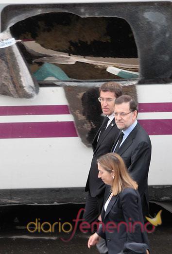 El presidente del Gobierno llega al lugar del descarrilamiento de tren cerca de Santiago de Compostela después de su grave error