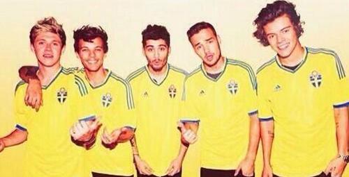 One Direction con la equipación de la selección de Suecia