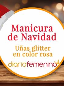Cómo hacerse un diseño de uñas glitter para Navidad en rosa