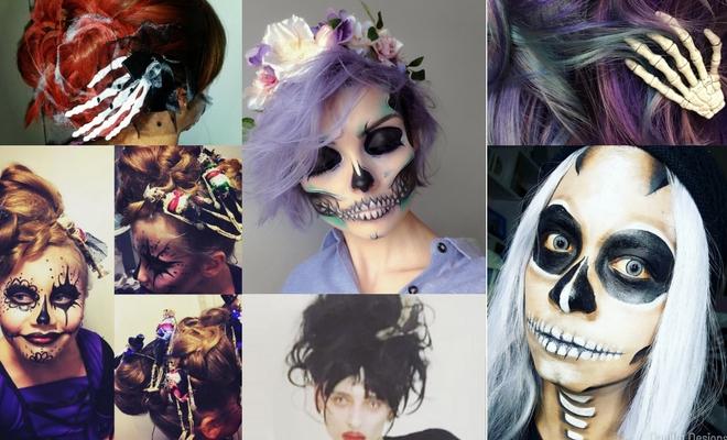 Más de 60 ideas de peinados para Halloween de esqueleto